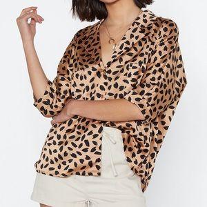 Almost leopard print blouse shirt